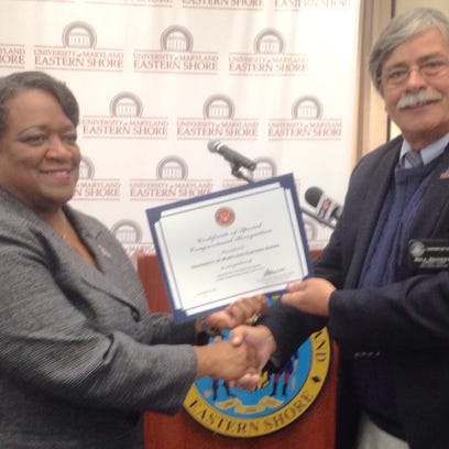 UMES President Juliette Bell receives a Congressional
