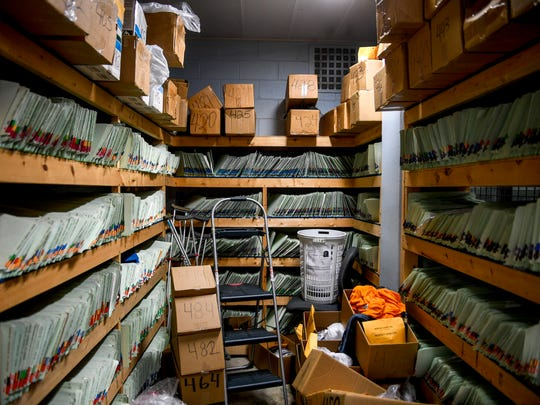 A room houses inmate files as well as other documents,