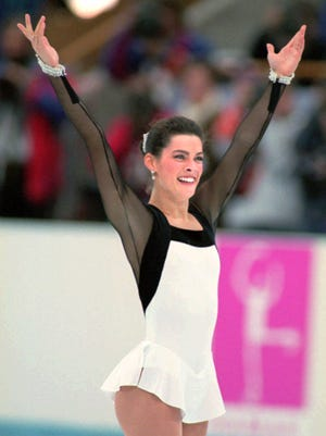 Nancy Kerrigan competes in the 1994 Olympics in Norway in this file photo.