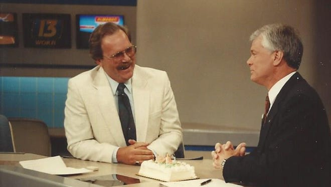Don Alhart, right, shares a laugh on set with former and longtime Channel 13 meteorologist Bill Peterson. They worked together for 19 of Alhart's 50 years and had plenty of funny moments.