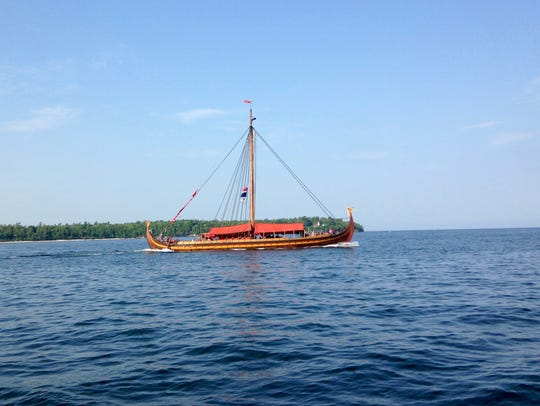 The Viking ship Draken sails from Sturgeon Bay to Green