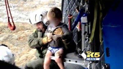 Jacob Spillers, 4, was rescued by the Snohomish County Helicopter Rescue Team on Saturday, March 22, 2014, within hours of the mudslide in Oso, Wash. Jacob's father, Billy Spillers, and three of his siblings are still missing. Jacob's mother was at work when the mudslide hit.