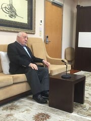Turkish cleric Fethullah Gulen, who lives in Pennsylvania, speaks to reporters July 18, 2016.