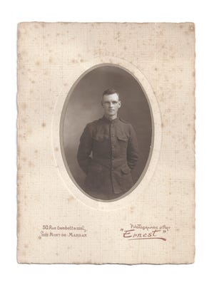 Photo of Andrew Funderburg's great-great-uncle taken in France during World War I.