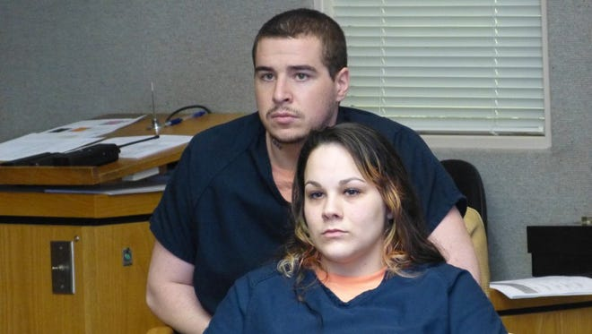 Heather Brown and her husband, Daylon Reed, are shown during one of their earlier court appearances.