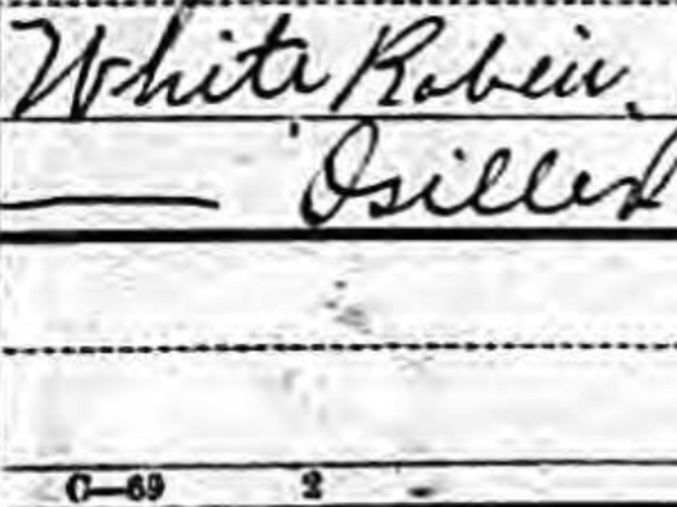 Robin White's entry in the 1900 Census, taken in June