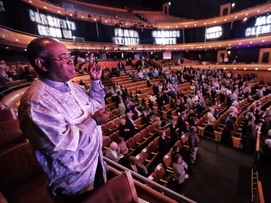 Alvin McKinney (left) listens to a tribute to gospel singer Cassietta Geoarge during the 6th annual Memphis Music Hall of Fame induction ceremony at the Cannon Center honoring inductees Roy Orbison, ÒCowboyÓ Jack Clement, Earth Wind & Fire founder Maurice White, Wayne Jackson, Andrew Love of the Memphis Horns, bluesman Frank Stokes, gospel artist Cassietta George and Beale Street Music Festival founder Irvin Salky.