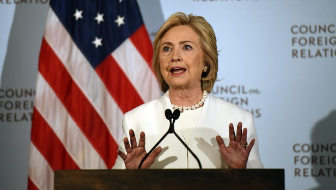 Hillary Clinton delivers a national security address at the Council on Foreign Relations in New York on Nov. 19, 2015.
