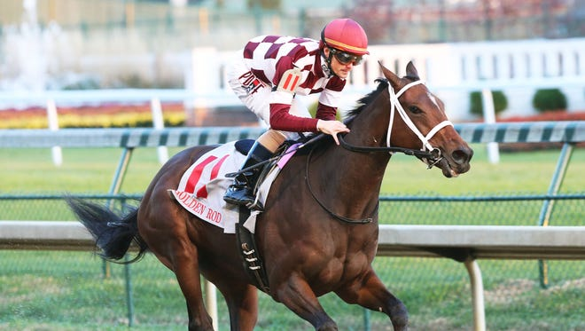 Farrell, with Channing Hill aboard, runs to a six-length victory on Saturday in Churchill Downs' Grade 2 Golden Rod Stakes.