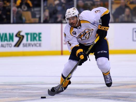 Predators defenseman Seth Jones (3) skates with the