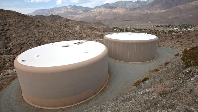 Two Desert Water Agency holding tanks are nestled in mountains overlooking south Palm Springs and the Indian Canyons.