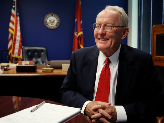 Senator Lamar Alexander is photographed in his office