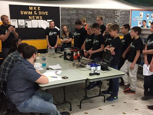 Oostburg Middle School's ROV team presents its winning ROV.