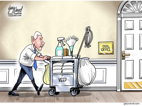 Vice President Mike Pence spends part of his time cleaning