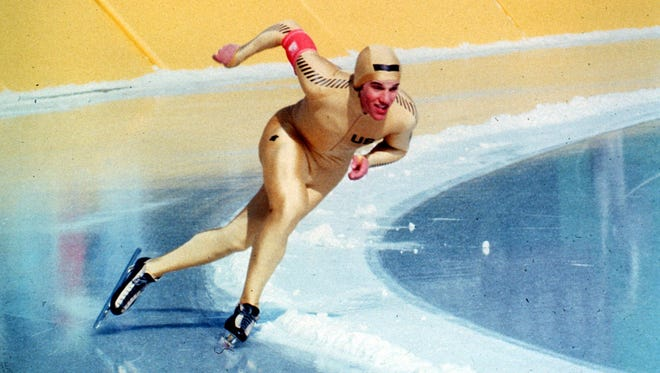 Eric Heiden skates in the 1,500 meters Feb. 21, 1980, at Lake Placid, N.Y. Heiden won gold in the 500, 1,000, 1,500, 5,000 and 10,000 meter events.