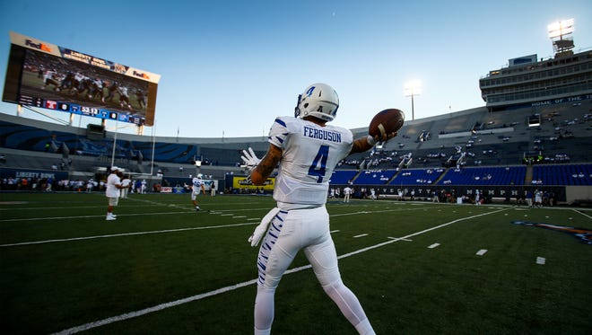 University of Memphis quarterback Riley Ferguson dons an all-white uniform as the Tigers prepares to take on Temple at Liberty Bowl Memorial Stadium on Oct. 6, 2016.