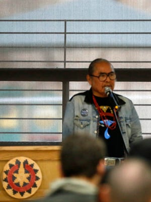 "Shiprock Chapter President Duane ""Chili"" Yazzie addresses the crowd at a Bureau of Land Management and Bureau of Indian Affairs scoping meeting on Thursday at the Shiprock Chapter house."