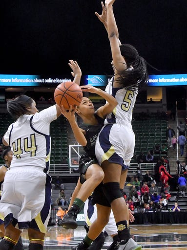 Arbor Tech's Ro'Zhane Wells (10) tries to force her