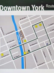 Here is the WalkWorks route in downtown York.