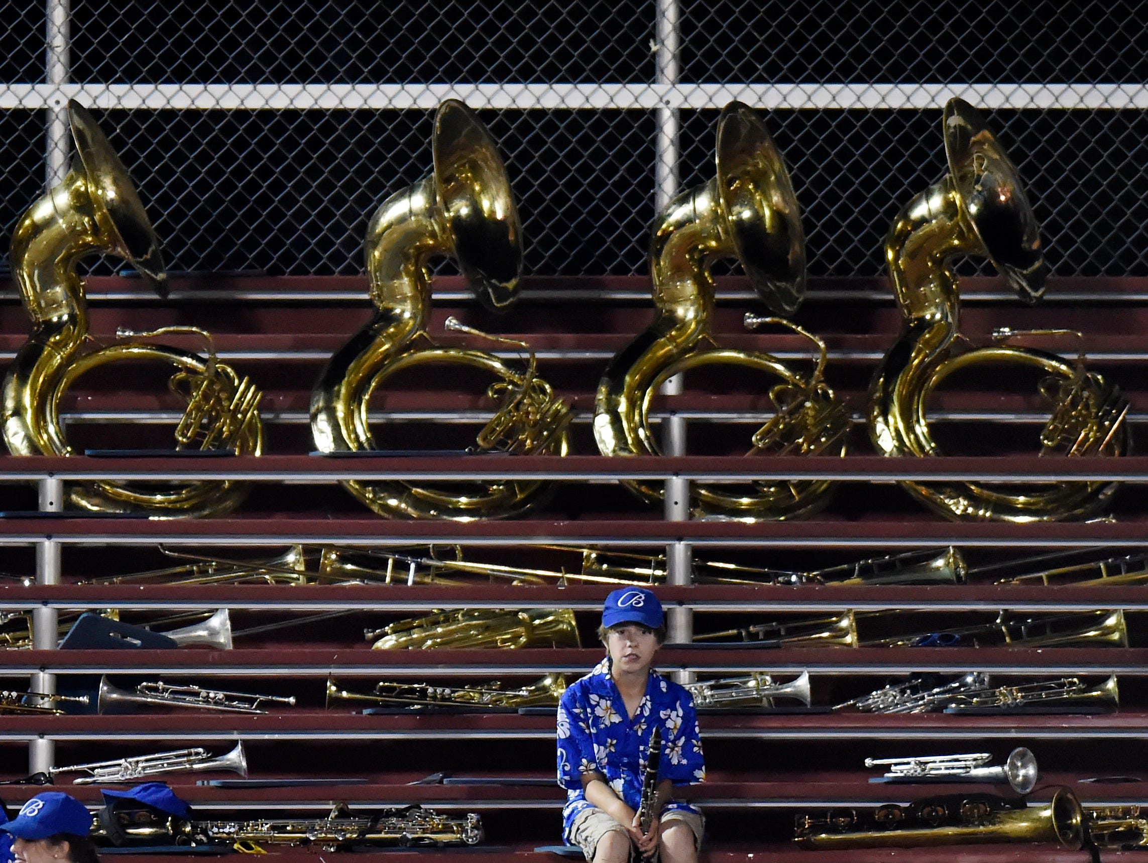 A Brentwood High School band member sits in the stands after Franklin defeated Brentwood 41-7 on Friday, Sept. 9, 2016, in Franklin. Franklin won 41-7.