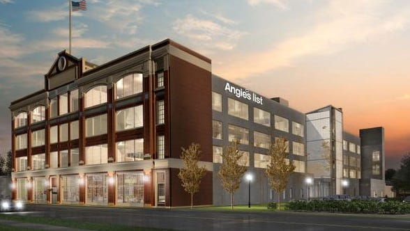 Artist's rendering shows what the new Angie's List headquarters will look like after the expansion into the former Ford plant on East Washington Street. The $40 million expansion will add 1,000 new jobs over the next five years, the company said on Tuesday, Oct. 14, 2014.