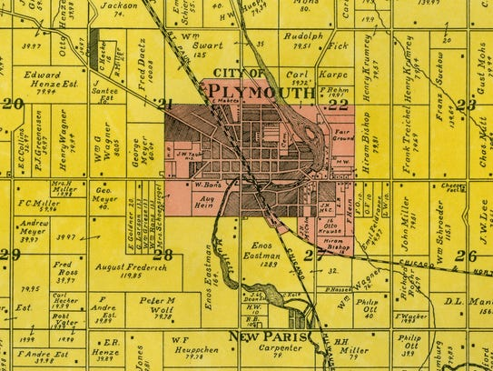 New Paris, seen on a 1902 map, was south of Plymouth
