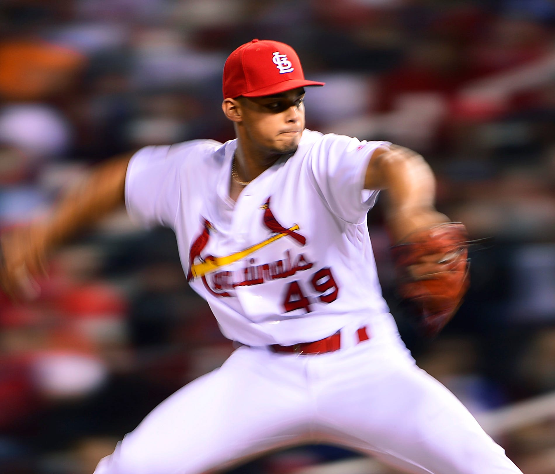 Cardinals reliever Jordan Hicks may look like a blur to opposing hitters. He hit 105 mph with a pair of pitches on Sunday vs. Philadelphia.