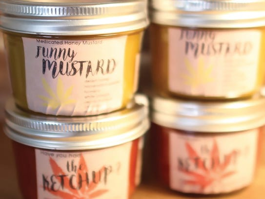 Flourish's edible mustard and ketchup products.