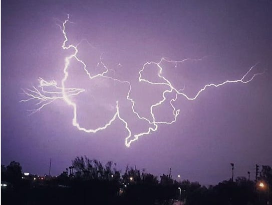 Lightning bolts cover the sky near Cave Creek Rd. and