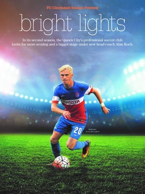 """The cover of The Enquirer's FC Cincinnati season preview special section entitled, """"Bright Lights."""" Portions of it have been updated following the team's April 9 match against Bethlehem Steel FC."""