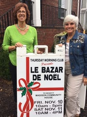 """The Thursday Morning Club will host their Annual """"Bazar de Noel"""" from 10 a.m. to 5 p.m. on Friday, Nov. 10 and 10 a.m. to 4 p.m. on Saturday, Nov. 11 at the Madison Community House, located at 25 Cook Avenue in Madison. The Bazar will feature many different vendors as well as prizes of theater tickets, mall gift cards, bank cards and gift certificates to local restaurants. It is the Club's major fundraising event of the year and proceeds provide operating funds for the Madison Community House, which is owned, operated and supported by the Club. La Patisserie will sell homemade pies, cakes, breads, and cookies. The Club's catering department will offer lunch and a variety of homemade soups and sauces for sale. Admission is free and open to all. For information, call 973-377-0244 or email www.TMCMCH.org. Pictured are co-chairs Jeannie Koszakowski, left, and Susan Packie."""