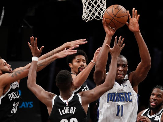 Orlando Magic center Bismack Biyombo (11) looks to pass against the Brooklyn  Nets during 803a7730a