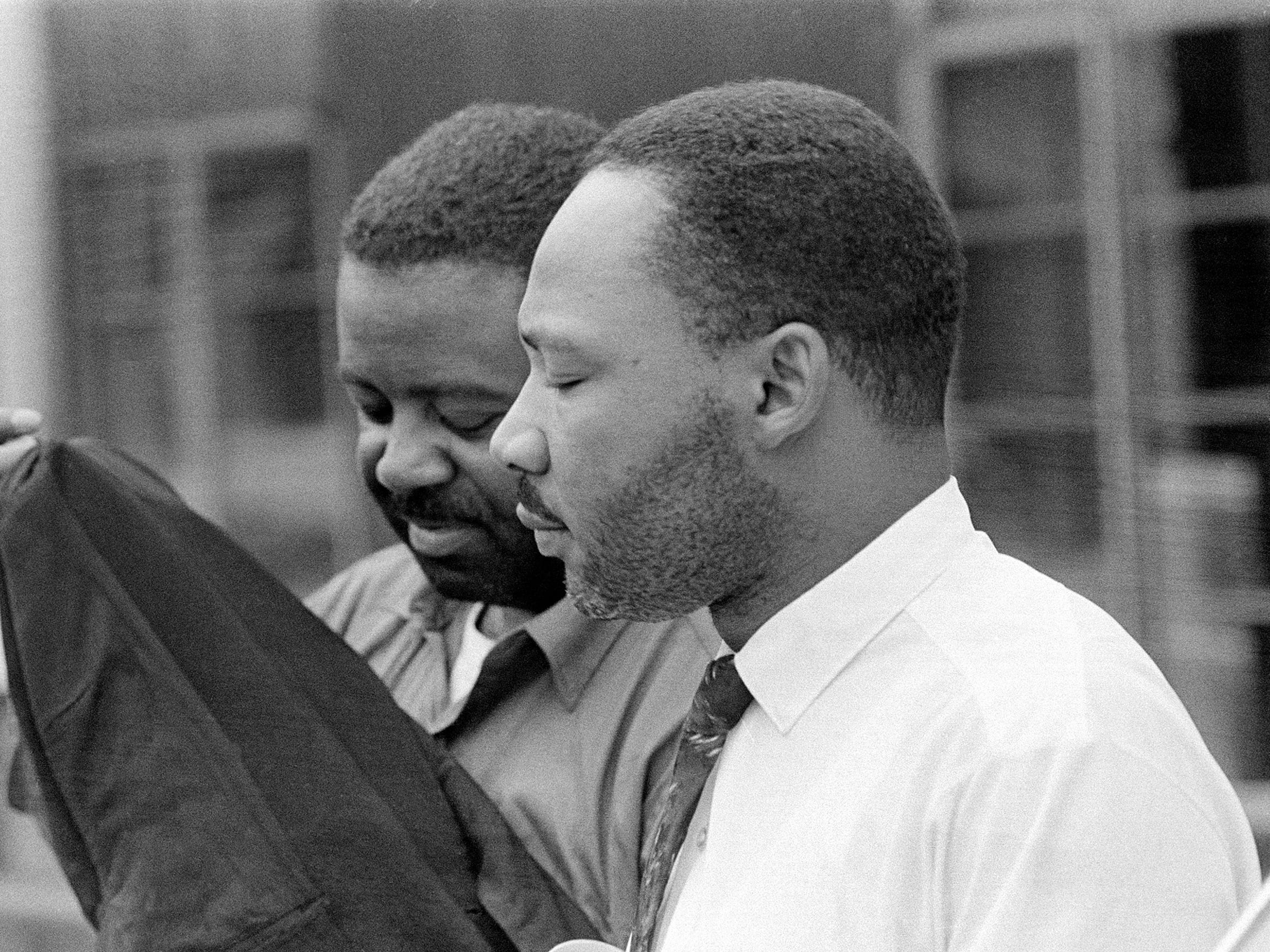 The Rev. Martin Luther King Jr., right, and his close associate, Rev. Ralph Abernathy, are released from a jail in Birmingham, Ala., on April 20, 1963.