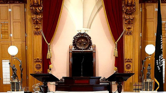 The rostrum and speaker's chair in the House chamber at the Ohio Statehouse