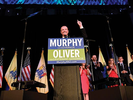 Democrat Phil Murphy gives his victory speech after