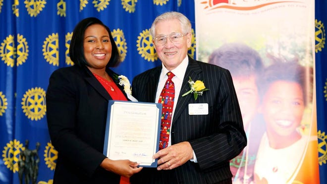 Rochester Mayor Lovely Warren with Jim Isaac, recipient of Rochester Rotary Award