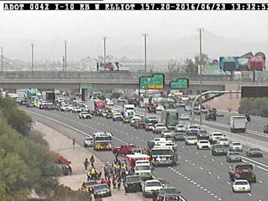 A rollover accident on the I-10 near the West Elliot