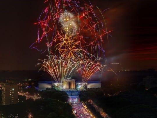 Fireworks light up the skies over Philadelphia.