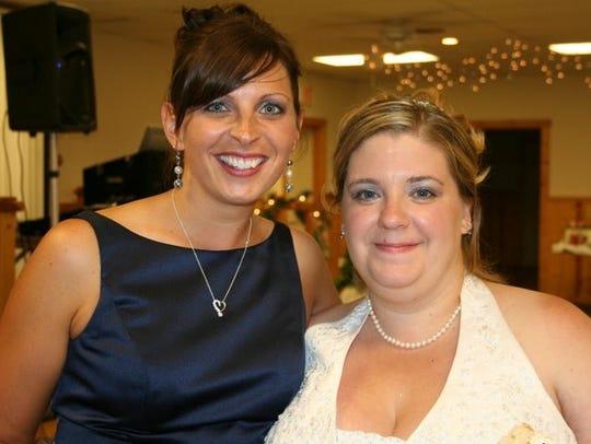 Beth Dix, left, and Megan Dix on Megan's wedding day