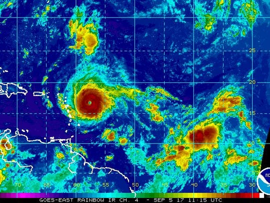 A satellite image of Irma on Tuesday, Sept., 5, 2017.