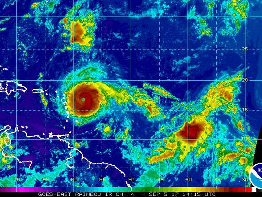 A satellite image of Hurricane Irma on Tuesday, Sept.
