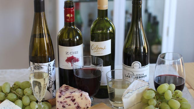 Four wines for under $15 (from left): Kungfu Girl, a Columbia Valley Riesling from Washington state; Zoe Red Peloponnese, from Greece; Colome, from Argentina; and Colonia, also from Argentina.