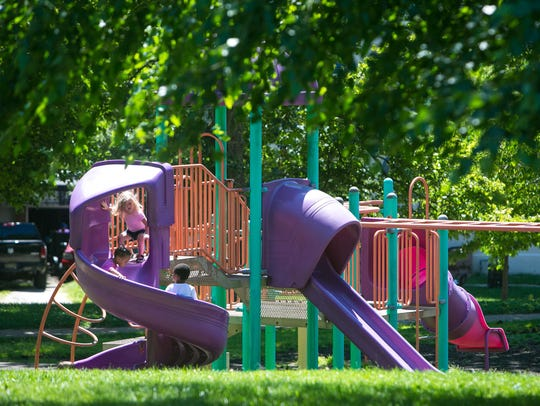 Children play at Tilton Park in Wilmington which was