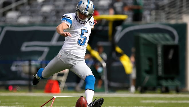 Detroit Lions kicker Alex Henery practices against the New York Jets on Sept. 28, 2014.