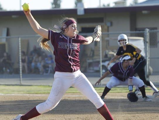 Mt. Whitney's Savanah White throws against Golden West