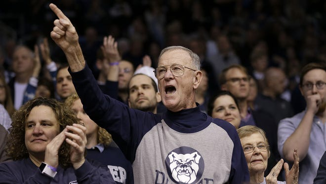 Butler superfan — and former Butler player —Wally Cox cheers for the Bulldogs and provides helpful feedback to referees and opposing coaches.