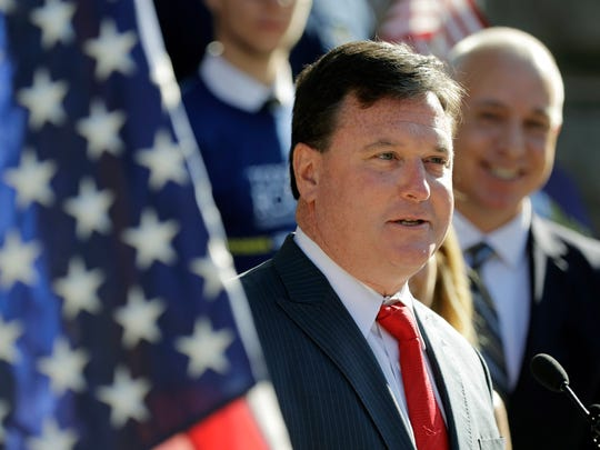 Rep. Todd Rokita, R-Ind., speaks during a news conference outside of the Indiana Statehouse in Indianapolis, Aug. 9, 2017. Messer is running for Senate in Indiana, though he primarily lives with his family in suburban Washington, D.C. One of his chief primary rivals, fellow Rep. Todd Rokita, has already seized on that as a line of attack.