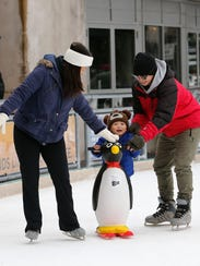 Slice of Ice at Red Arrow Park has Polar Pals to help little ones learn how to skate.