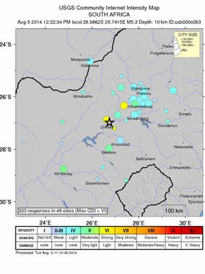 A handout community intensity map image made available by the United States Geological Survey (USGS) National Earthquake Information Center showing  the area of the 5.3 magnitude earthquake in South Africa.