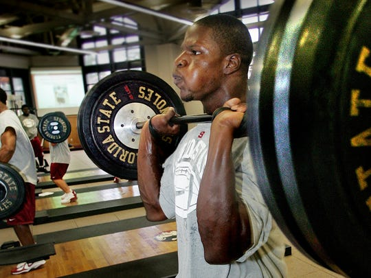 Kamerion Wimbley lifts 245 pounds during an afternoon workout in 2005. Wimbley was a first-round pick in the 2006 NFL Draft.